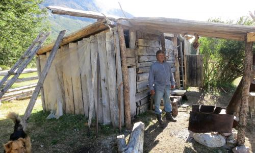 A gaucho named Leonardo stands outside his home in Valle Colonia.